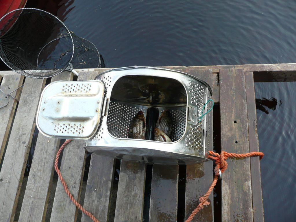 ÖRESJÖN-TROLLING 2008 Fische hältern Waschmaschinentrommel