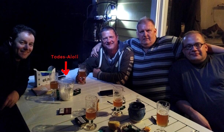 Nömmen-Trolling 2017, Auspannen mit Bierchen und Aioli