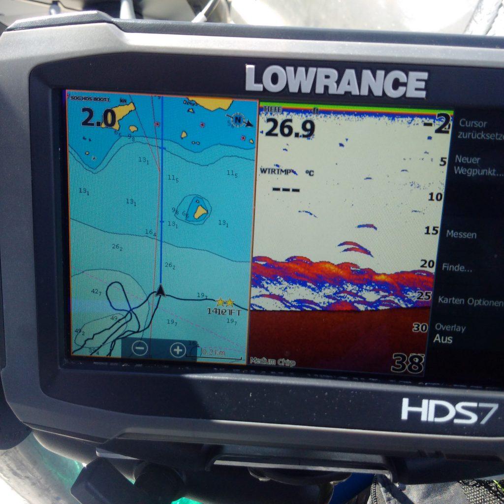 SPINNFISCHEN IN SCHWEDEN Echolot Lowrance HDS7 GEN3 Fischsichel, Zanderhotspot am Grund, Tracking Plotter