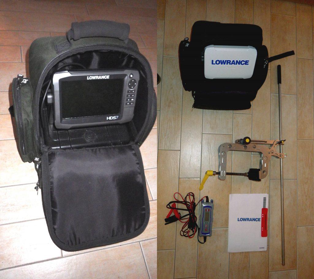 Echolot-GPS-Kombigerät Lowrance HDS7 Gen3 mit SKRUBBES-Geberstange und Ladegerät