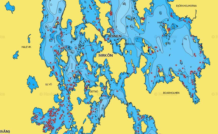 Åsnen Navionics Gewässerkarte Seekarte