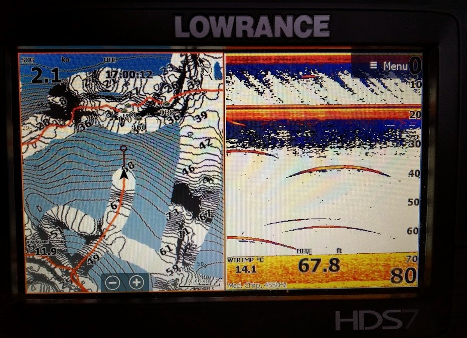 Lowrance HDS SonarChart-Live, Ansicht der korregierten Tiefen, Fegen Fegensee Trolling